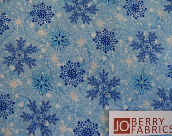 Snowflakes from a Snowy Christmas Collection by Exclusively Quilters.  Quilt or Craft Fabric, Fabric by the Yard.