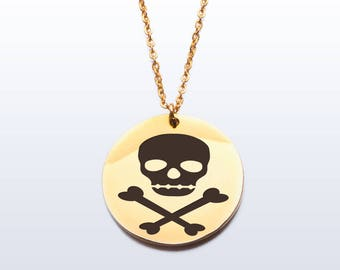 Pirate skull and crossbones gold plated stainless steel pendant necklace