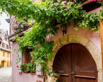 Colorful Eguisheim Alsace, bike photo, France photo, Falling Off Bicycles travel photo, fine art photography