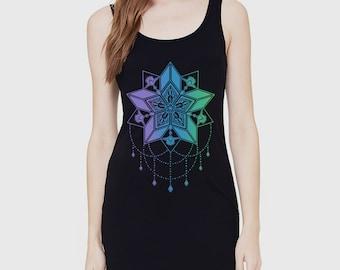 Women's STARFLYER Racerback Jersey Black Dress Sacred Geometry Mehndi Chandelier