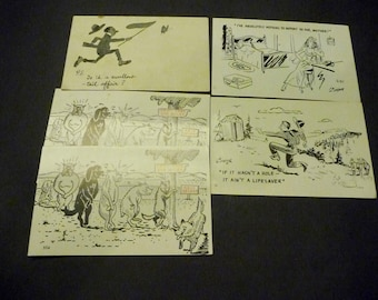5 Comic Cards - black and white - 3 post cards -2 suitable for framing only
