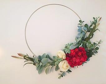 hoop wreath, modern wreath, door wreath, front door wreath, wreath, wreaths, spring wreath, red wreath, door wreath, front door wreath