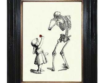 Halloween Girl Art Print sad Skeleton Reaper Death Red Rose - Victorian Steampunk Gothic Art Print