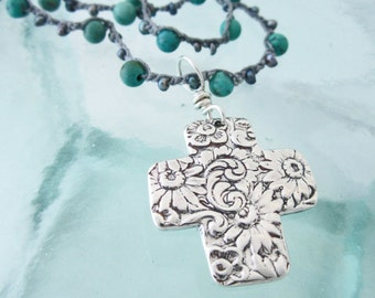 Handcrafted Silver Floral Cross on Turquoise and Silver Freshwater Pearl Necklace