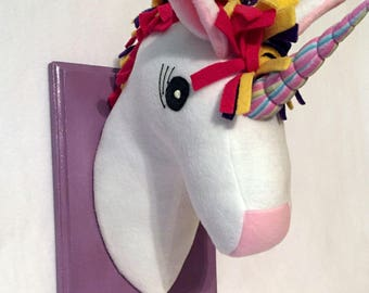 Stuffed Unicorn Head / Rainbow Unicorn head / Stuffed Unicorns / Stuffed Animal head / Faux Animal head / Best Baby Shower gifts