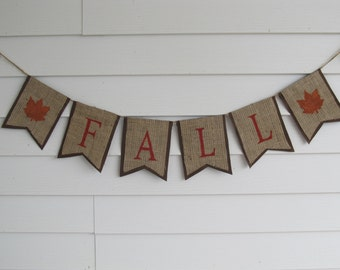 "Rustic Burlap ""Fall"" Autumn Banner Shown With Brown Outline"