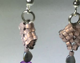 Handmade pierced, frosted violet and mauve earrings with pinchbeaded accents, hypoallergenic earwires.