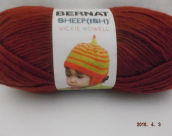 Bernat Sheepish Yarn ~ Dark Reddish ~ Wool Blend ~ #4 Medium ~ 85 grams/2.4 ounces ~ 137 yards