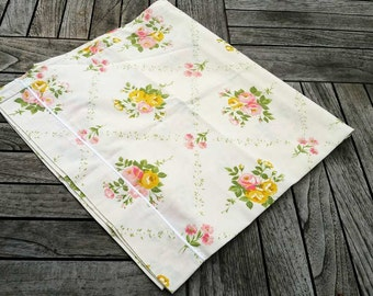 French vintage  bolster case ,  single bed bolster cover , pink and yellow floral decor, shabby chic bolster case