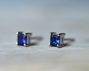 Sapphire Earrings, Blue Sapphire Stud Earrings, Silver Earrings, September Birthstone Jewelry, Blue Sapphire Studs, Something Blue For Bride