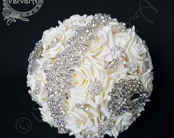 Wedding Bridal Bouquet/ Ivory Roses Brooch Bouquet/ READY TO POST