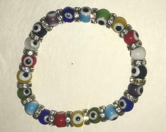 Multi-color rainbow evil eye bead stretch bracelet - Red, yellow, green, blue