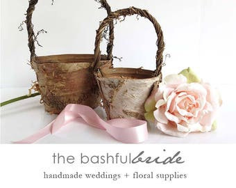 Wedding decorations etsy two sizes bohemian wedding rustic flower girl basket bohemian wedding decor flower girl basket birch farmhouse chic barn wedding junglespirit Choice Image