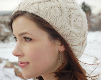 Pdf knitting pattern for cabled, winter hat for women
