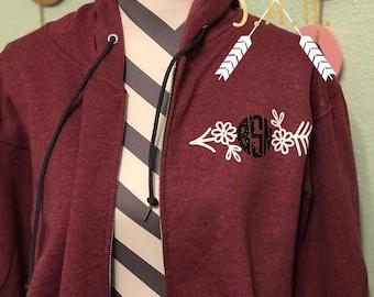 Monogram floral arrow sweatshirt