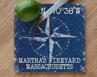 Custom Coordinates Compass Rose Cutting Board, Latitude Longitude Cutting Board, Latitude Longitude Cutting Board
