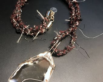 Kumihimo Braided Brown Necklace with Sterling Silver Wire wrapped Agate Pendant (N112)