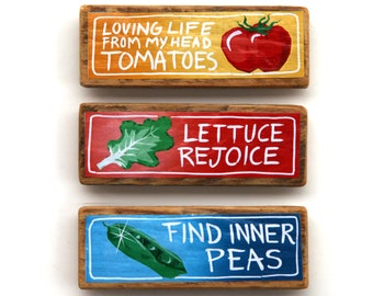 Vegetable Pun Magnet Collection  - Color Laser Print Mounted on wood