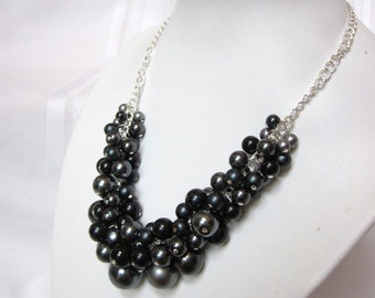 """Pearl Cluster Necklace """"Shades of Night"""" -Black, and Dark Gray- Chunky, Choker, Bib, Necklace, Wedding, Bridesmaid, Prom"""