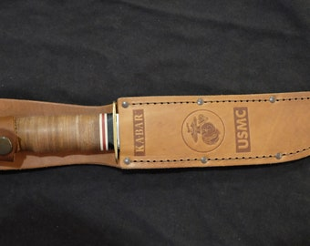 Bowie Hunting Knife KaBar USMC Custom Blade Art by Renwa