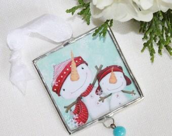 "christmas ornament - limited edition - snowmen - winter - christmas - snowman - snow- ""SNOWY DAYS!"""