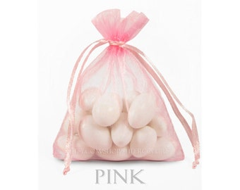 10 Pink Organza Bags, 20x21 Inch Sheer Fabric Favor Bags