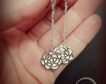 Silver Dangle Earrings,Flower Earrings, flower dangle Chain Earrings, long earrings, fine jewellery,long dangle earrings