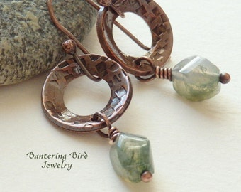 Pale Green Stone Drop Earrings, Jasper Nugget on Small Hammered Copper Ring, Boho Copper Jewelry