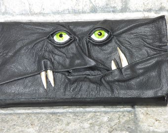Wallet Zippered Slim Woman Black Leather Clutch Credit Card Holder Monster Harry Potter Labyrinth 227
