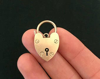 Antique Heart-Shaped Padlock Charm | Victorian Style | 9ct Gold