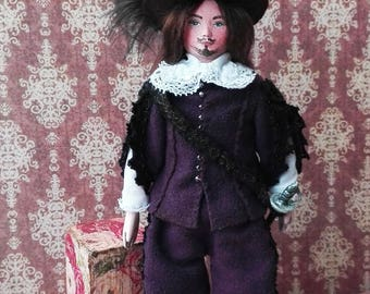 Miniature doll - tiny handmade art doll, dollhouse clay doll Alexandre,  interior, collectible dolls, special gift, home decor - 6 inch