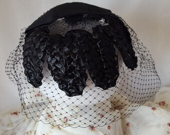 Vintage Black Woven Straw and Net Hat