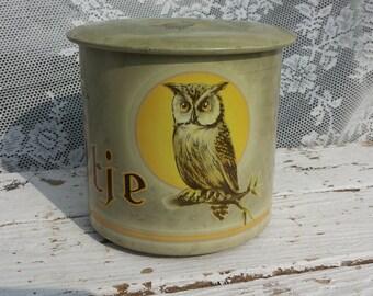Owl * Luna-cigars/La Bolsa Cigar Factory Kampen Holland/around cigar tin/animals/Owl/Vintage retro can/Smoke ware