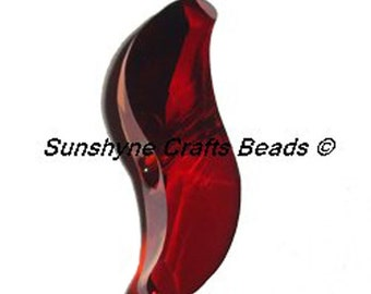 Swarovski Crystal Beads 5525 CRYSTAL RED MAGMA 19MM Faceted Wave Bead 1 Piece - Other Colors available