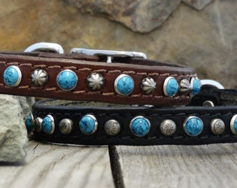 """Leather Dog Collar / 5/8""""  wide dog collar / Turquoise spots / Black, Brown, Chestnut, Tan Leather /  metal studs / Chrome or Brass Buckle"""