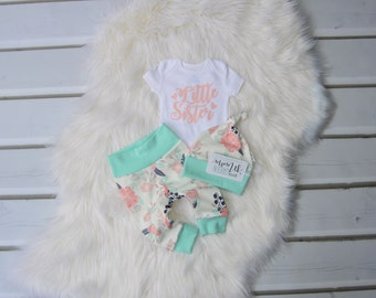Little sister newborn outfit, little sister baby outfit, little sister take home outfit, little sister coming home outfit, baby girl outfit
