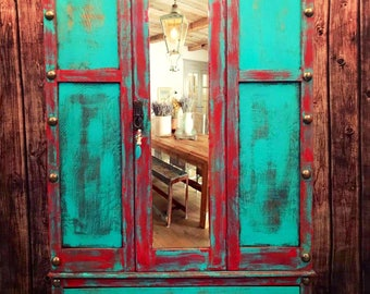 Turquoise Armoire Wardrobe Storage Cabinet Gypsy Boho Distressed Hand  Painted