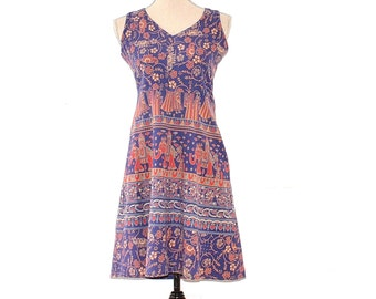 Block Print Sundress - Vintage 70s Indian Cotton Elephant Print Dress - Boho Hippie Dress - Cotton Block Print Woodstock Flower Child Dress