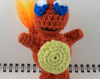 Crocheted Plush Fire Lizard Monster