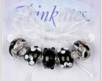 Cousin TRINKETTES 5 Piece Black and White  Mix Large Hole European Style Bead Charms