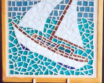 Sail boat mosaic trivet