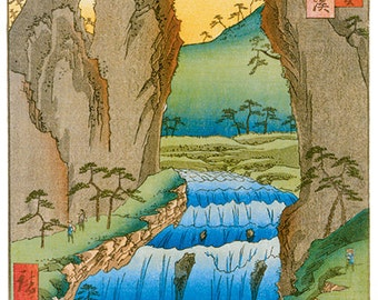 Hand-cut wooden jigsaw puzzle. GOKEI JAPAN RIVER. Hiroshige. Japanese woodblock print. Wood, collectible. Bella Puzzles.