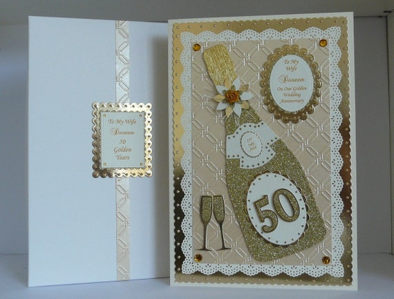 50th golden wedding anniversary card for