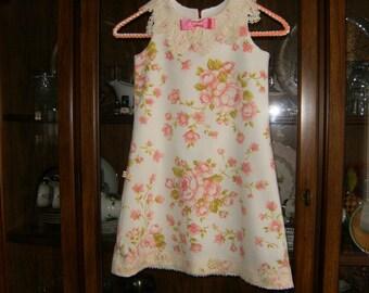 Girl's Dress 5T, Vintage Dress 5T, Lace Collar 5T Dress, Shabby Chic Dress 5T, Upcycled 5T Dress, Girl's Dresses, Girl's Pink Dress
