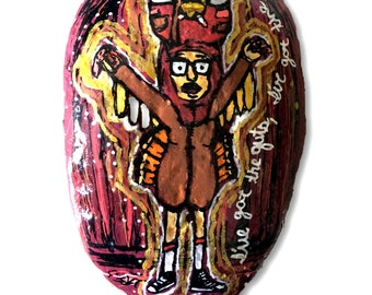 Bob's Burger's Tina *Quirky Turkey* Painted Rock. Handpainted large river rock, stone. One of a Kind Painting