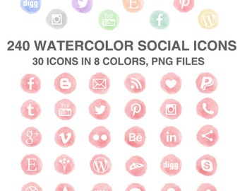 240 Watercolor Social Media Icons Set of 30 x 8 colors pink peach grey lavender yellow blue mint pine - PNG - Instant Download