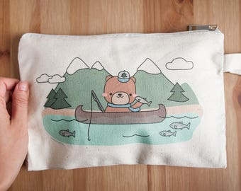 Bear Fishing for Salmon Pouch - Great Outdoors Mini Pencil Bag with Zipper - Zippered Bag