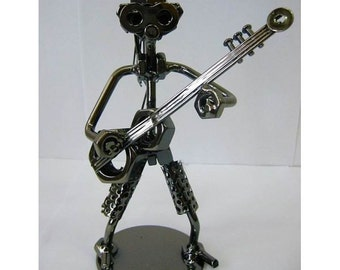 Musican Guitarist figurine with guitar metal guitar gift musician