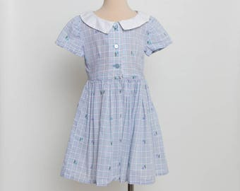 vintage 1950s girl's shirtwaist dress