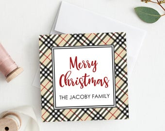 Gift enclosure cards with envelopes. Christmas Enclosure Card. Plaid Christmas Gift tag